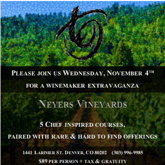 Neyers Vineyards Wine Dinner at TAG