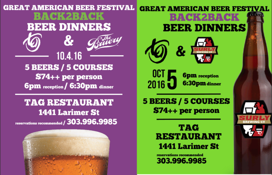 BACK 2 BACK Beer Dinners at TAG
