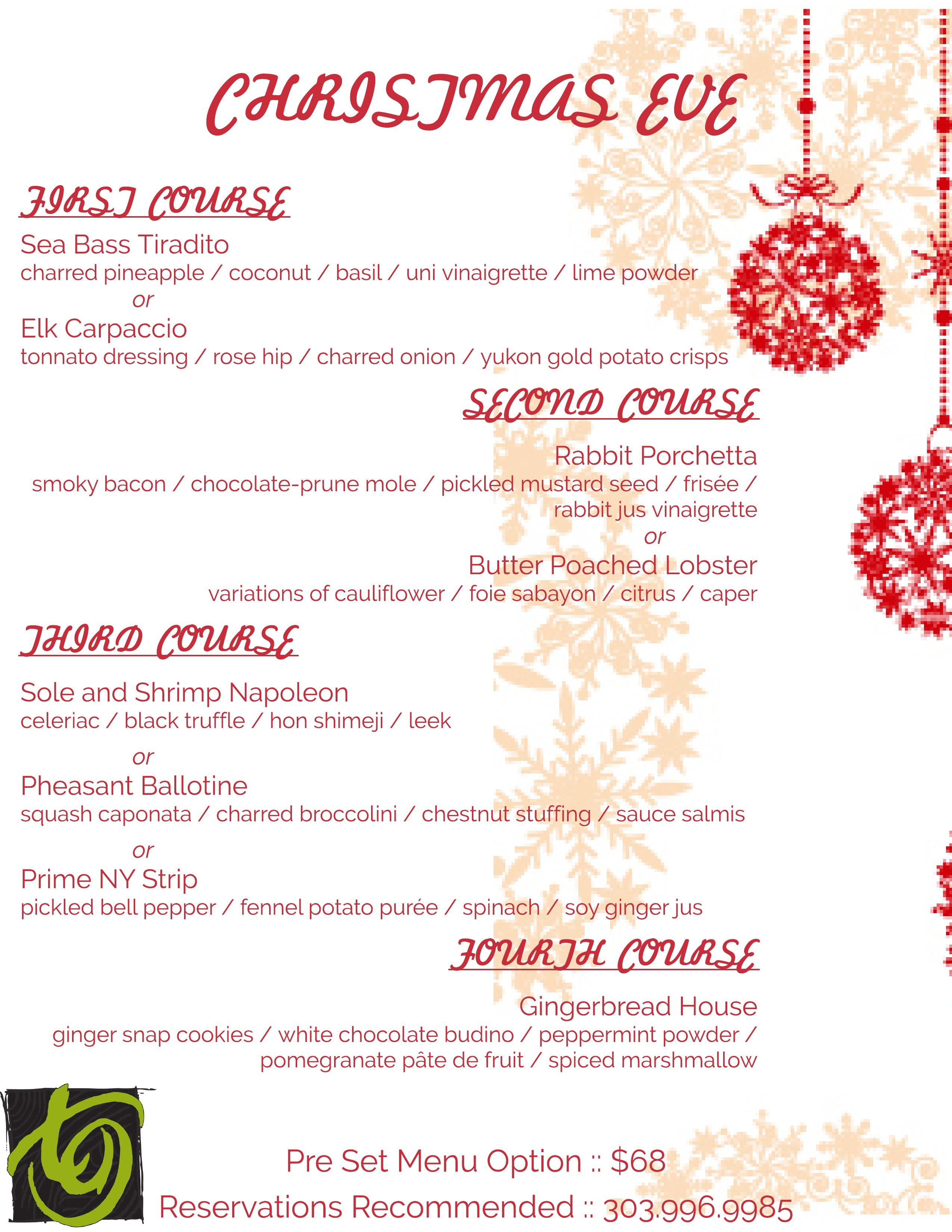 Christmas Eve at TAG / Full Menu Here | Tag Restaurant Denver ...