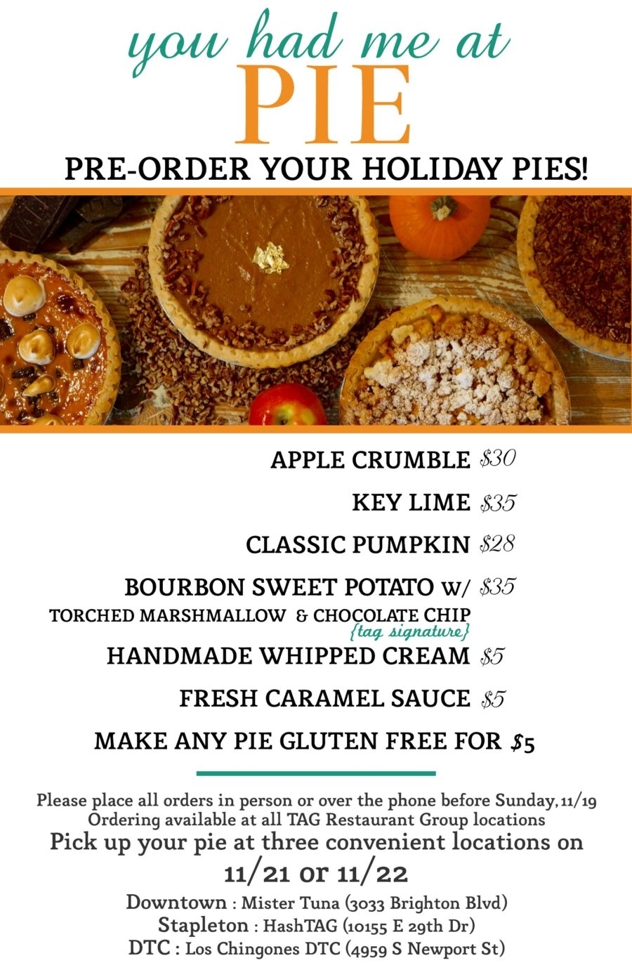 You Had Me At Pie!  Pre Order Your Holiday Pies Today!